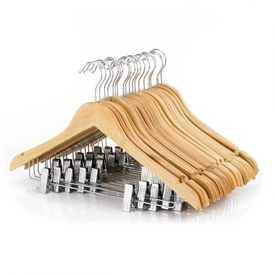 Wooden Clip Hangers  45cm - Qty 100
